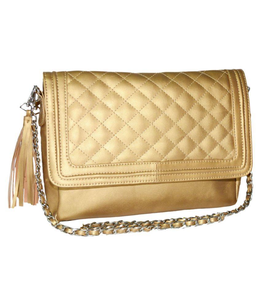 Quick Fashion Golden P.U. Sling Bag