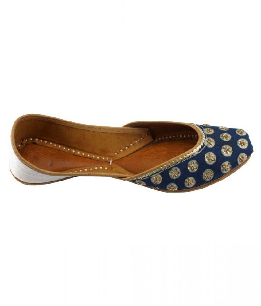 Yolo Blue Flat Ethnic Footwear