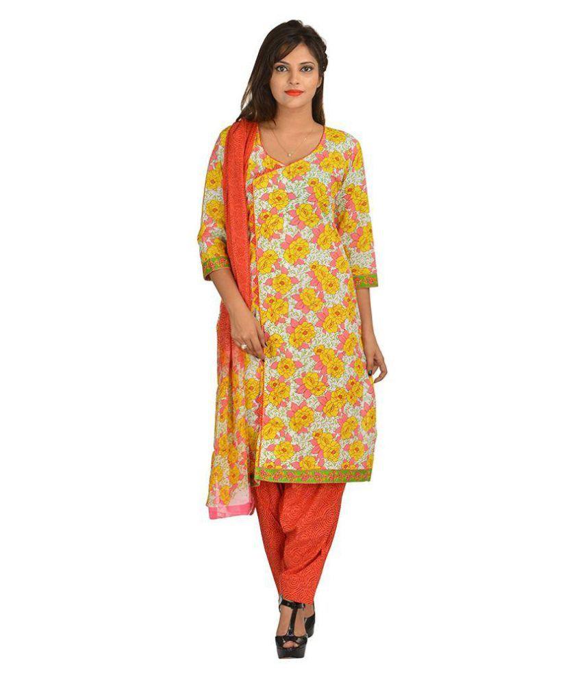Khatri Creations Multicoloured Cotton Dress Material
