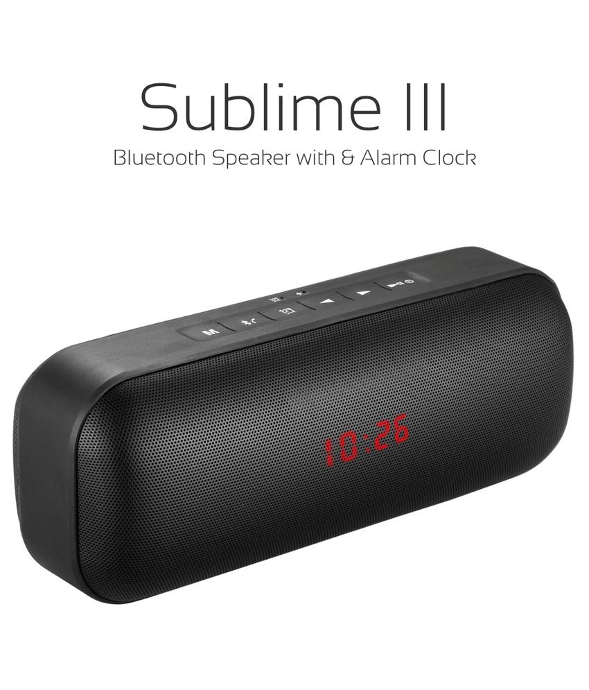 Portronics Sublime III POR 622 Portable Bluetooth Stereo Speaker with Alarm Clock,Aux, FM, SD Card, In-built Mic & USB- 9W (Black)