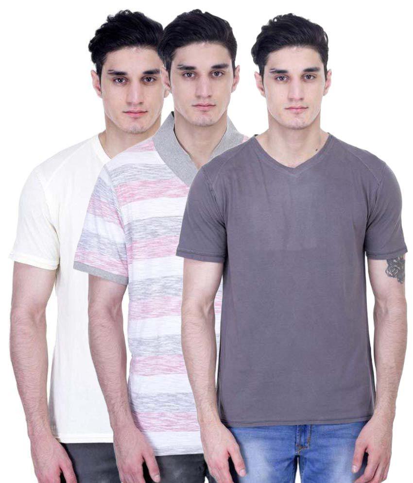 John Caballo Multi V-Neck T-Shirt Pack of 3
