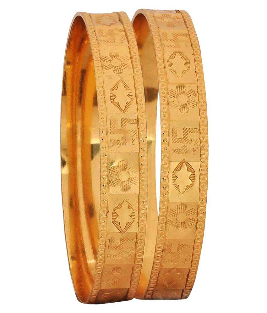 Maayra Golden Brass Bangle Set