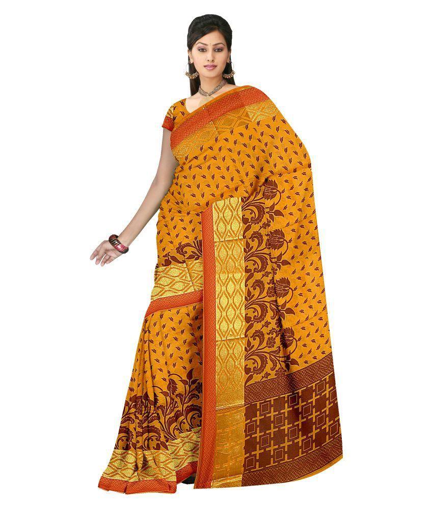 ASHK Sarees Yellow Silk Saree