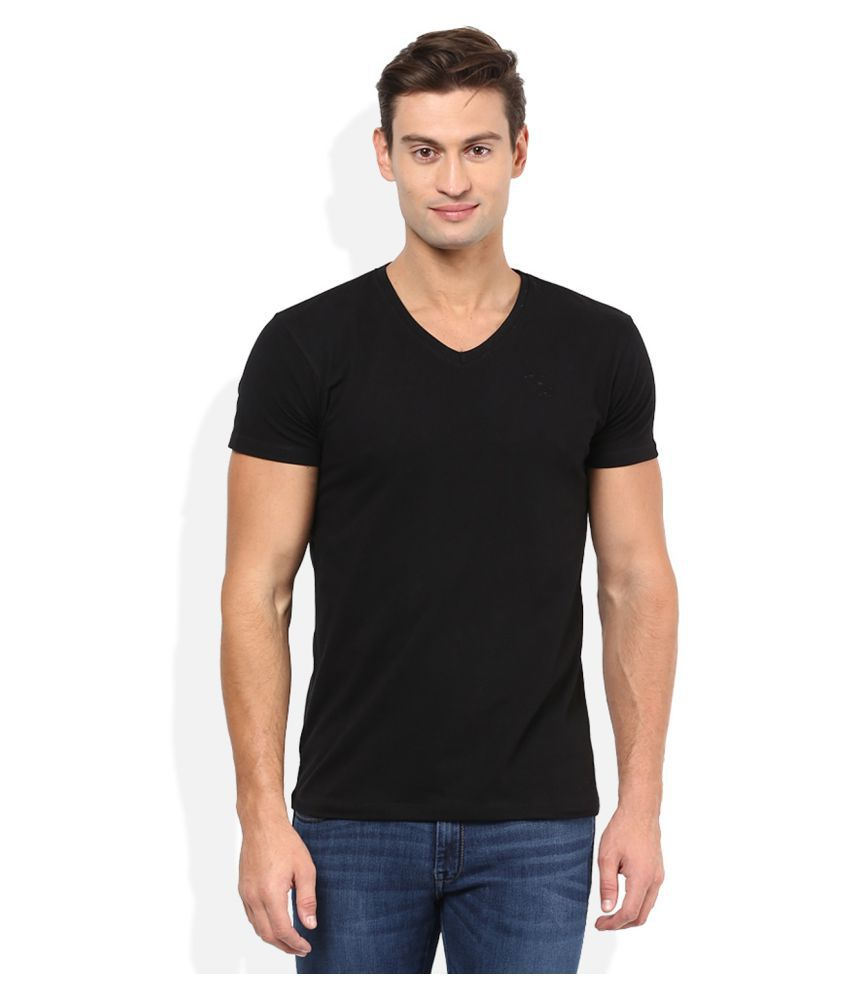 Trudam Black V-Neck T-Shirt