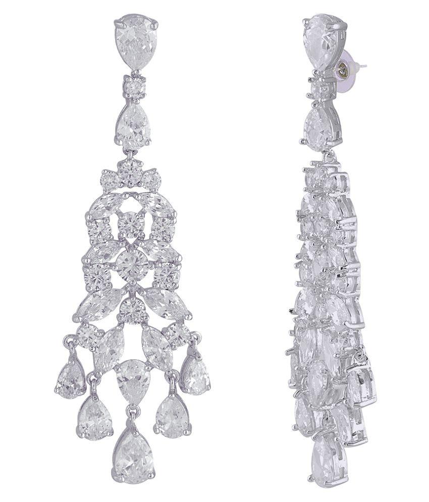 Shaze Silver Brass Chandelier Earrings