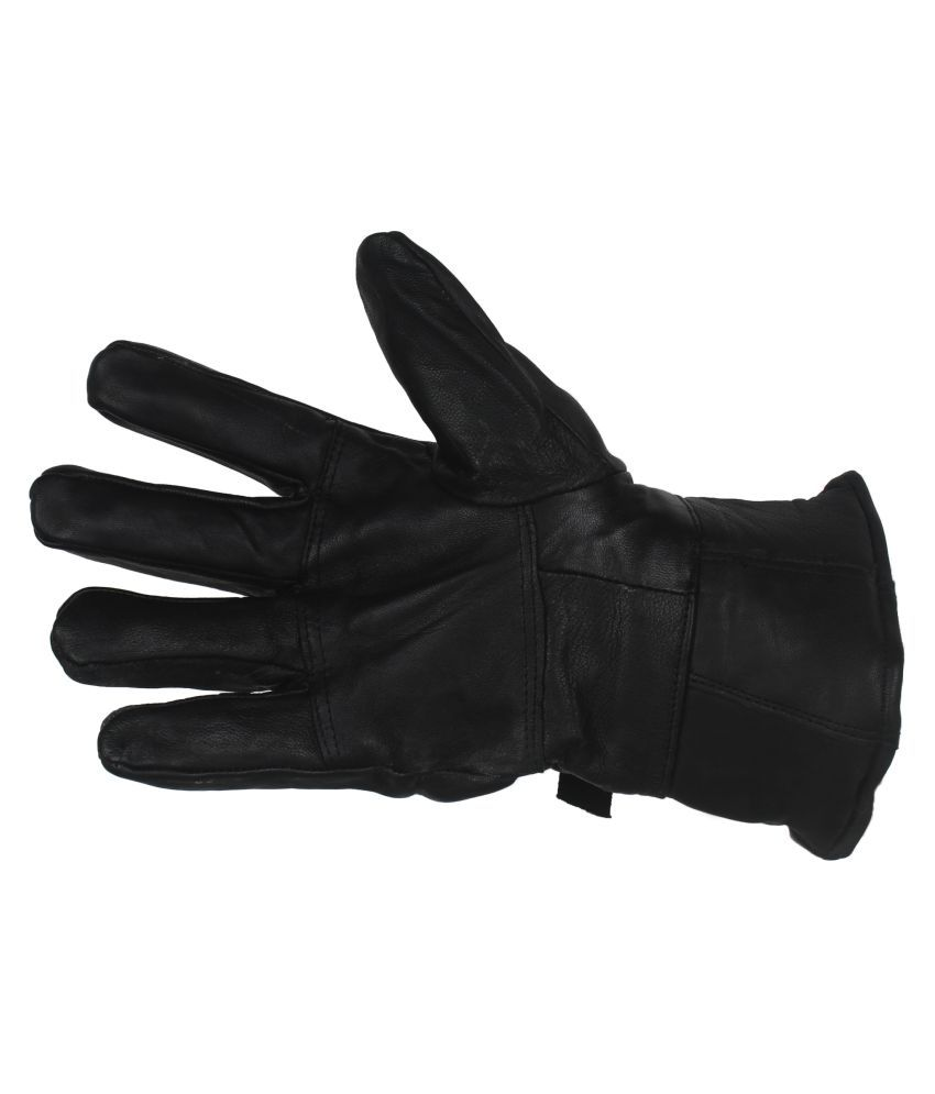 Buy leather hand gloves online india - Indian Fashion Genuine Leather Men Gloves Black