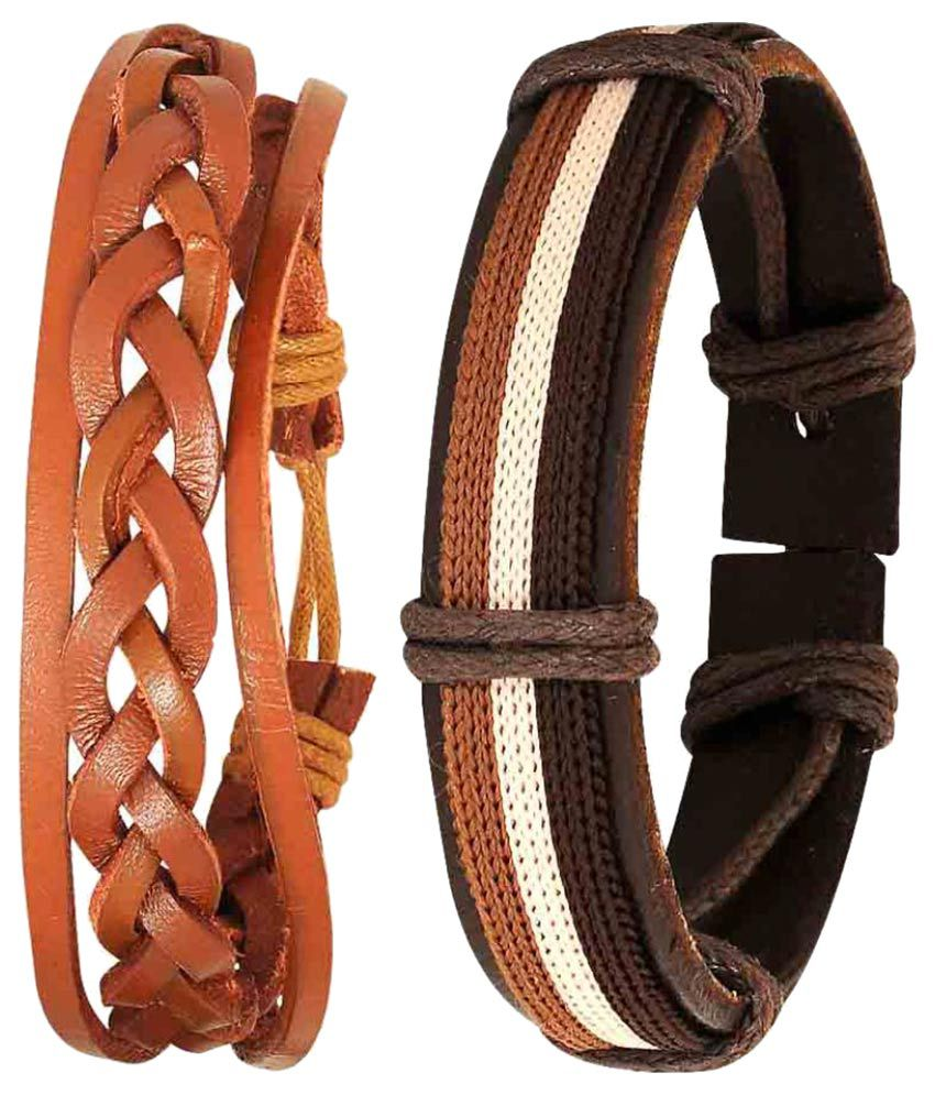 Maayra Brown Leather Bracelet - Set of 2