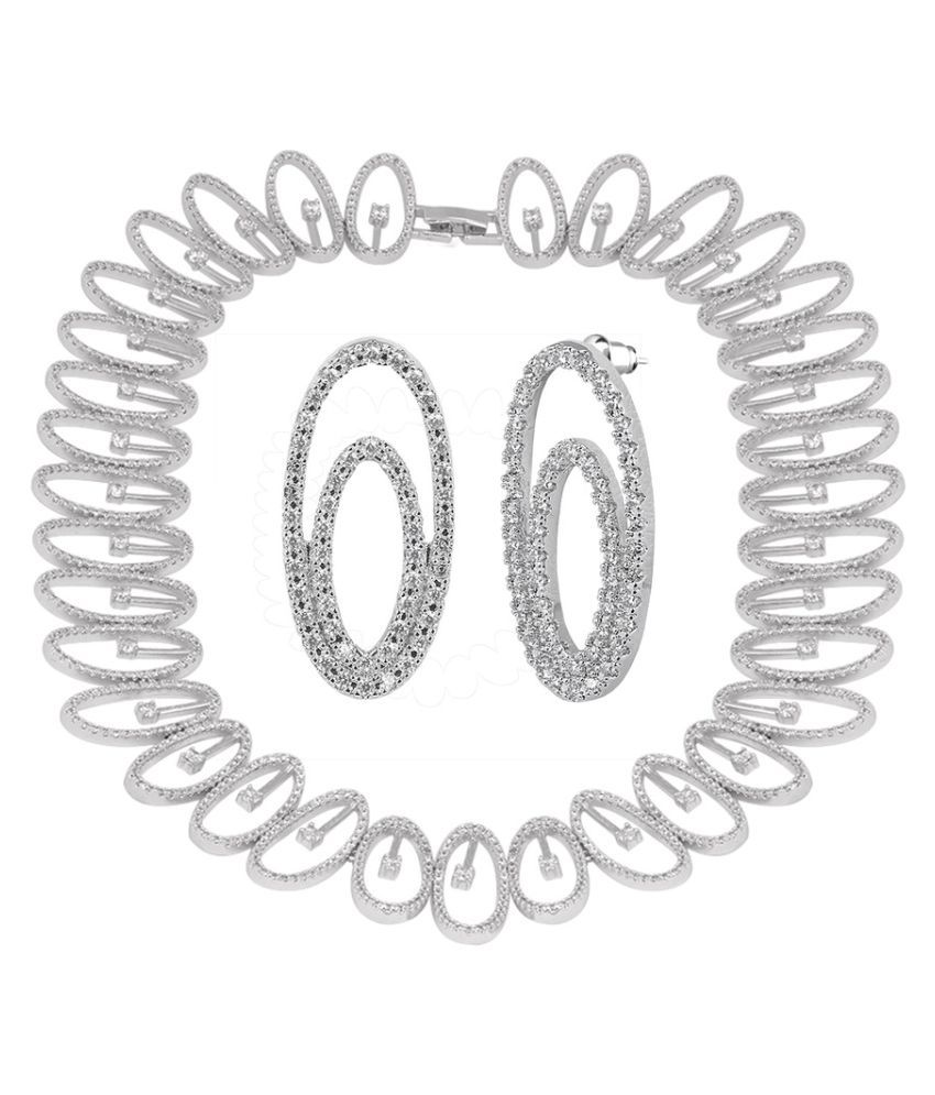 Shaze Silver Plated Stringed Ovals Necklace Set