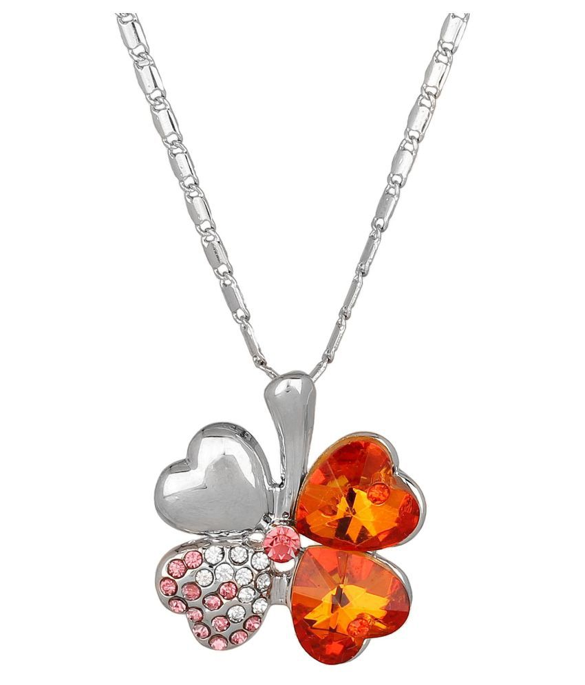 Jewelizer Silver Plated Austrian Crystal Necklace