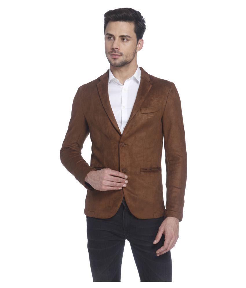 Jack & Jones Brown Solid Casual Blazers