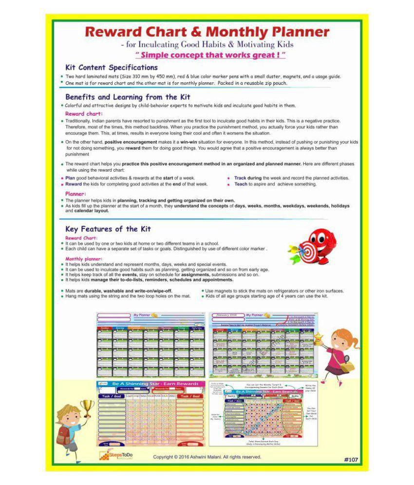 Stepstodo Reward Chart Monthly Planner Inculcate Good Habits