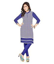 Ved First Look Blue Jute Printed Semi Stitched Kurti
