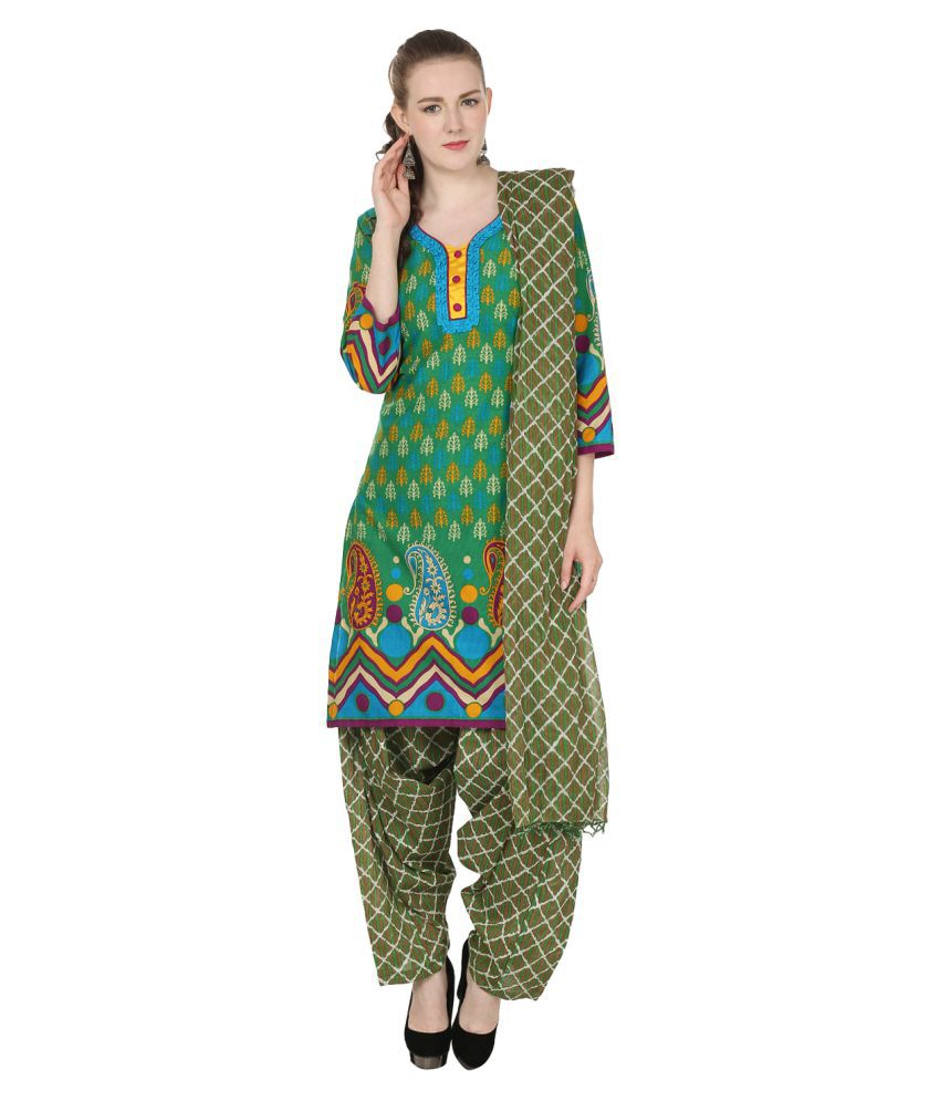 Maahi Green Cotton Straight Stitched Suit