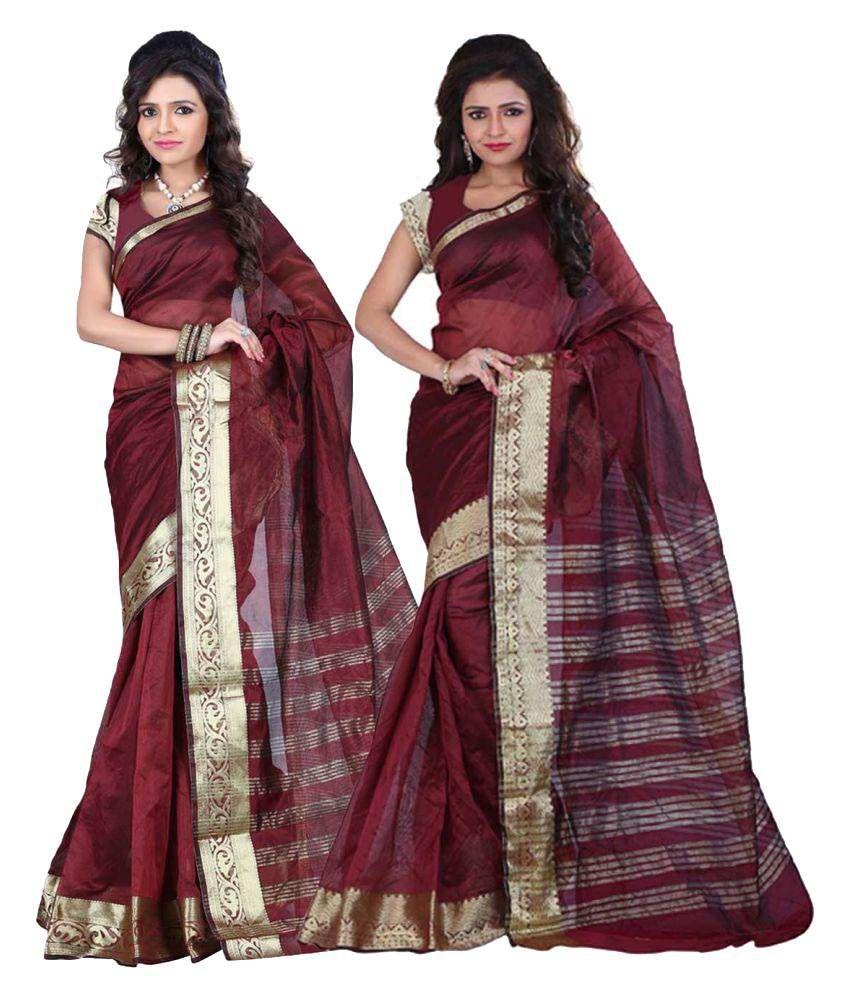 Aksh Fashion Maroon Art Silk Saree Combos
