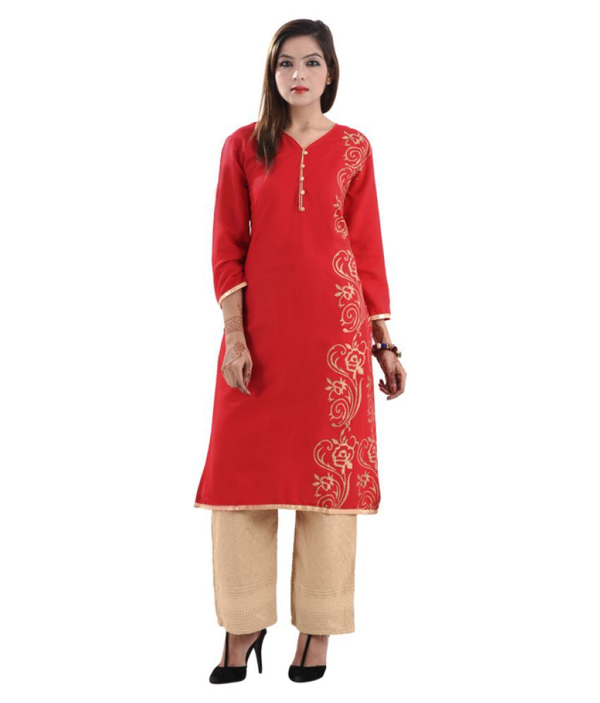 Gurukripa Shopee Red Cotton Straight Kurti