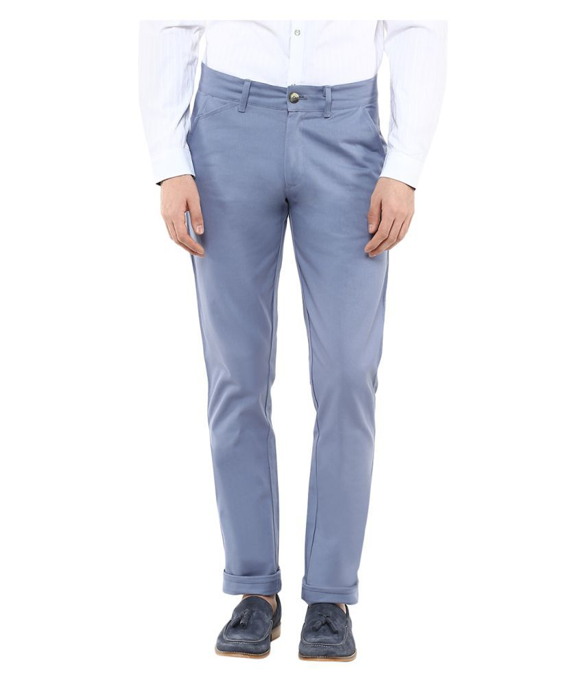 Yepme Blue Regular Flat Trouser