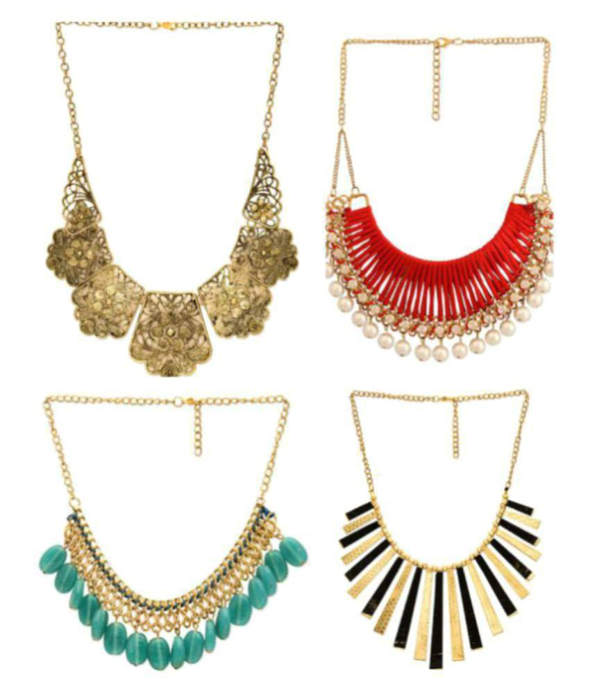Fedexo Multicolour Alloy Necklace - Set of 4