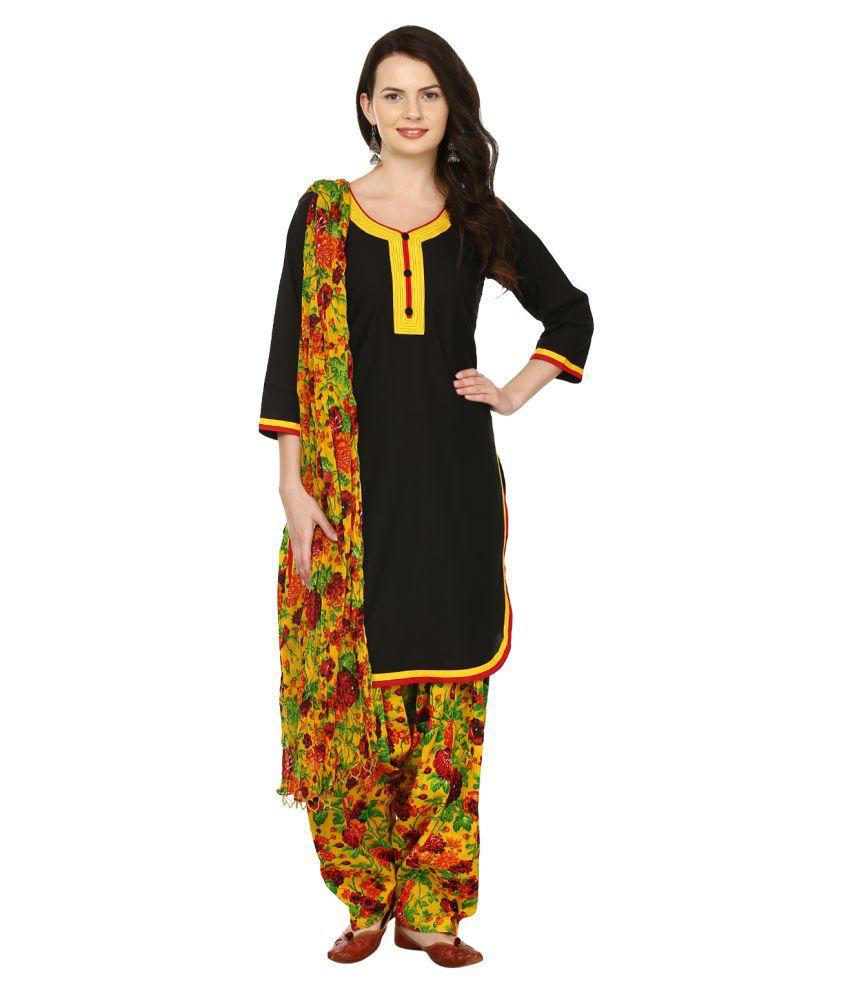 Lamizor Black Cotton Straight Stitched Suit
