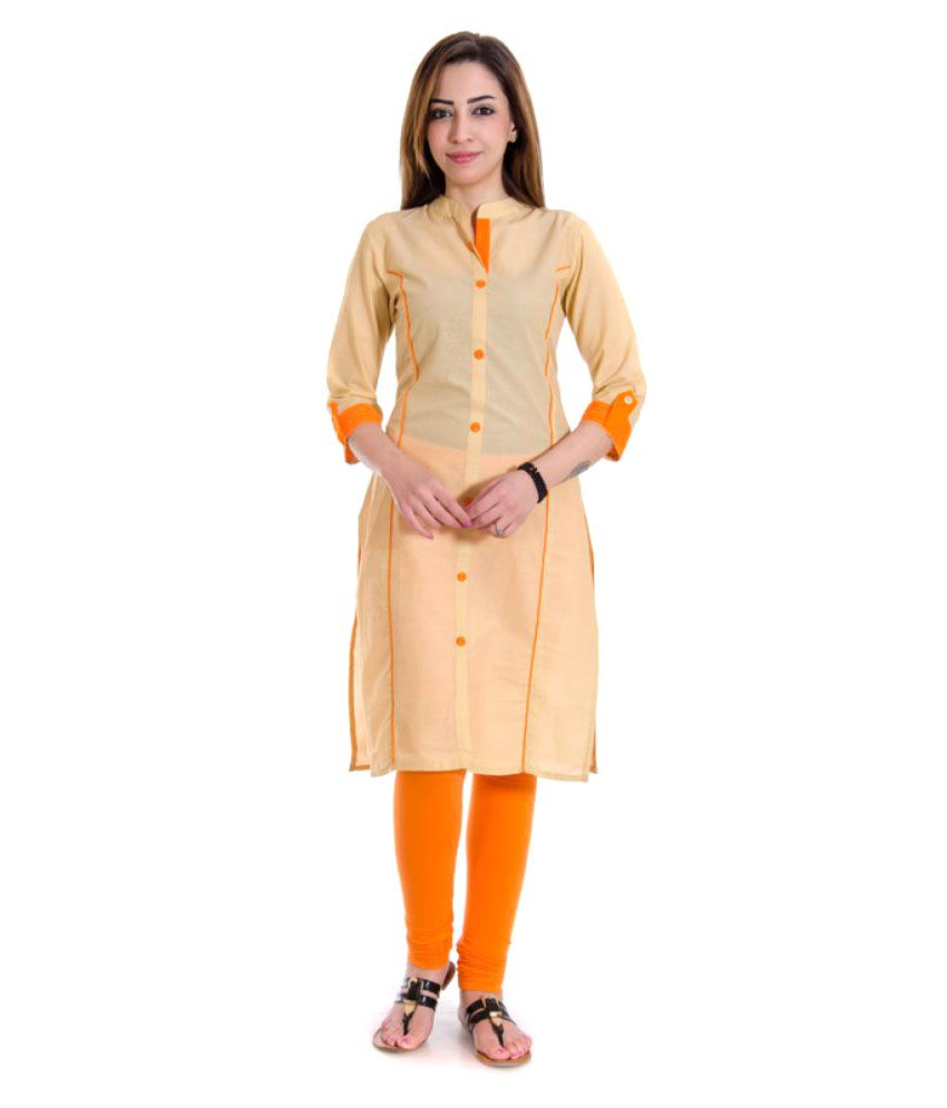 Gurukripa Shopee Beige Cotton Straight Kurti