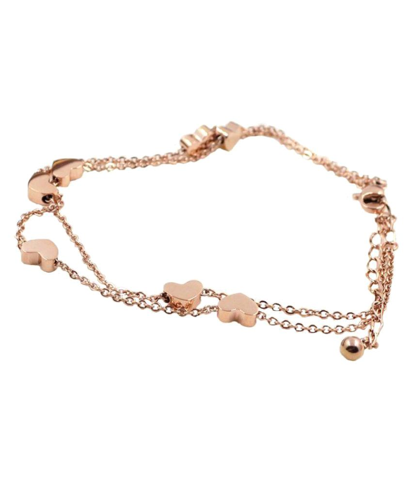 Yellow Chimes Rose Gold Alloy Crystal Anklets