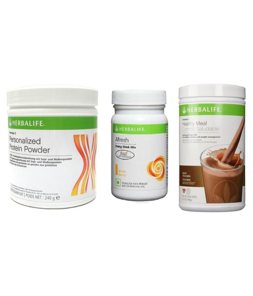 Herbalife Formula 1 Shake 500g Dutch Chocolate + Personalized Protein Powder and Afresh Energy Drink 50g Lemon Flavour Powder