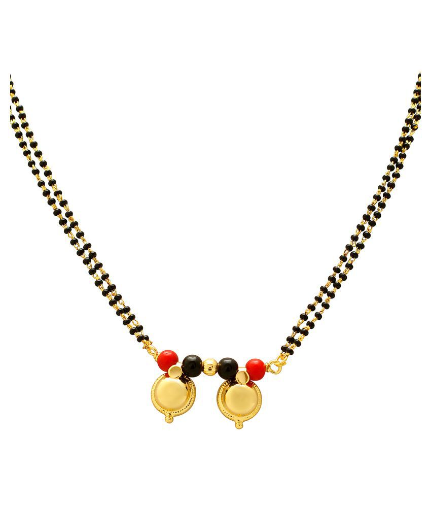 Memoir Golden Dual Wati Red and Black Bead Studded, Ethnic Mangalsutra for Women