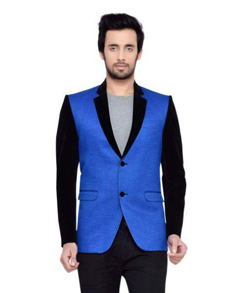Yuvraj Blue Color Block Casual Blazers