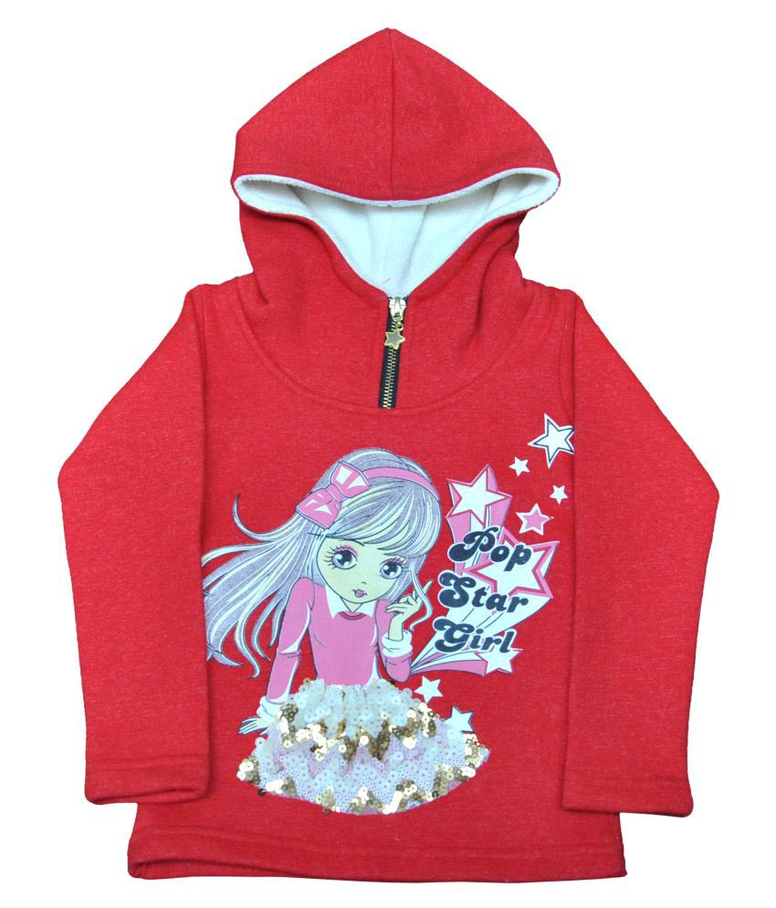 Ziama Red printed Pre Winter Girls Sweatshirts