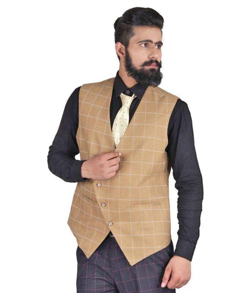 Blackthread.in Khaki Checks Wedding Waistcoats