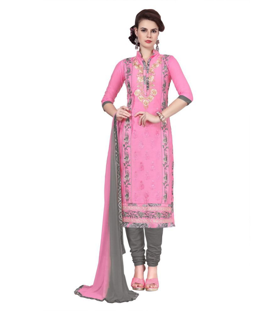 Reveka Fashion Pink Cotton Dress Material