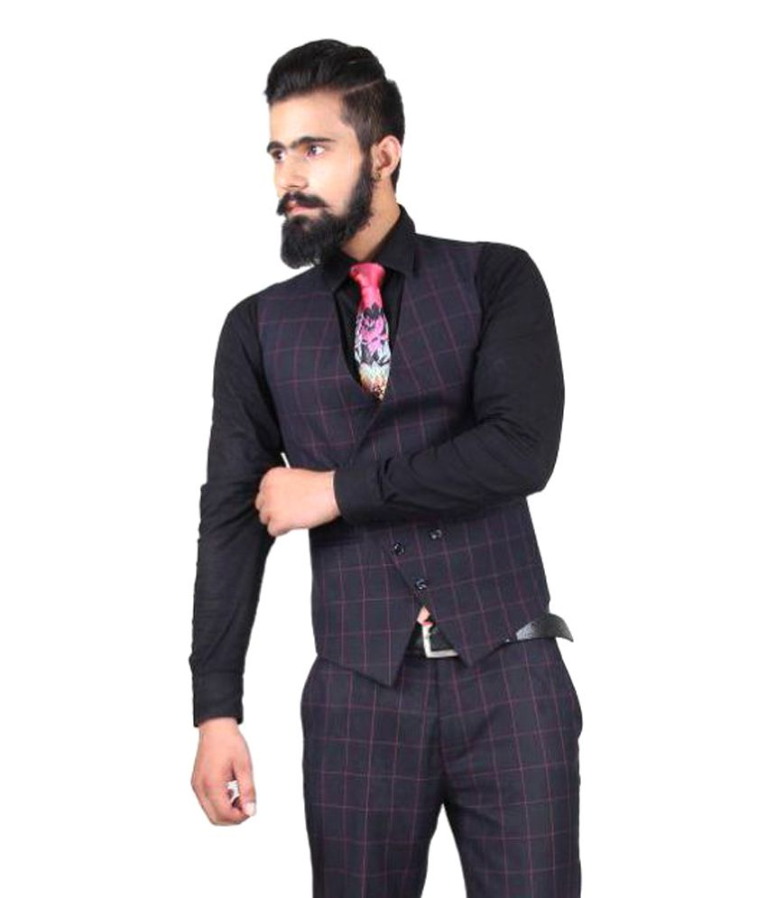 Blackthread Blue Checks Wedding Waistcoats