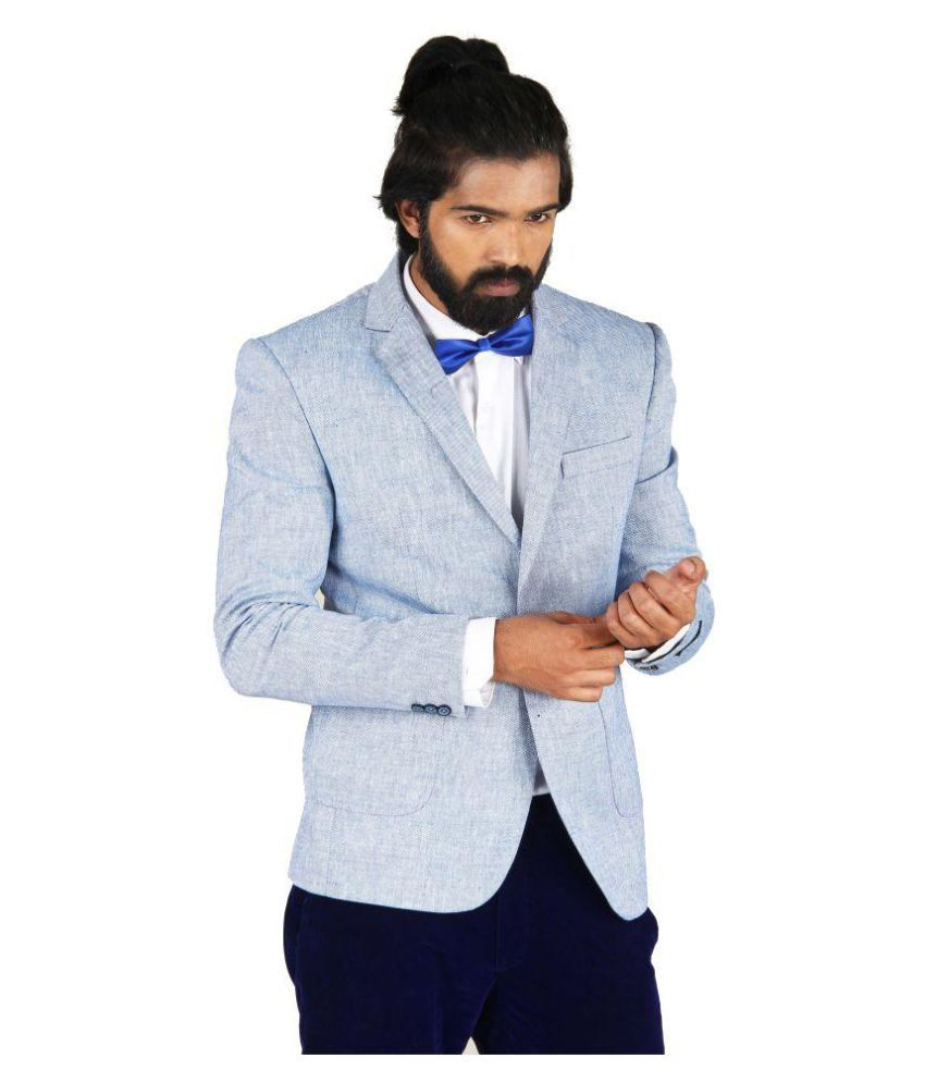 Blackthread.in Blue Solid Formal Blazers