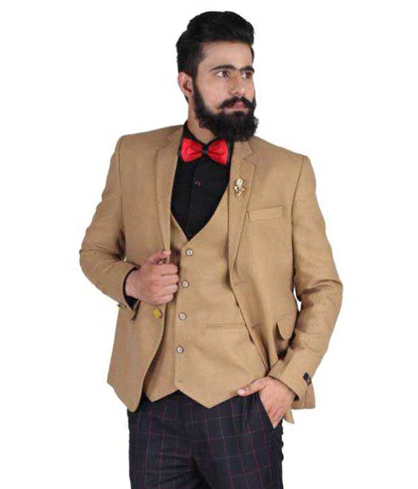 Blackthread Khaki Solid Wedding Blazers