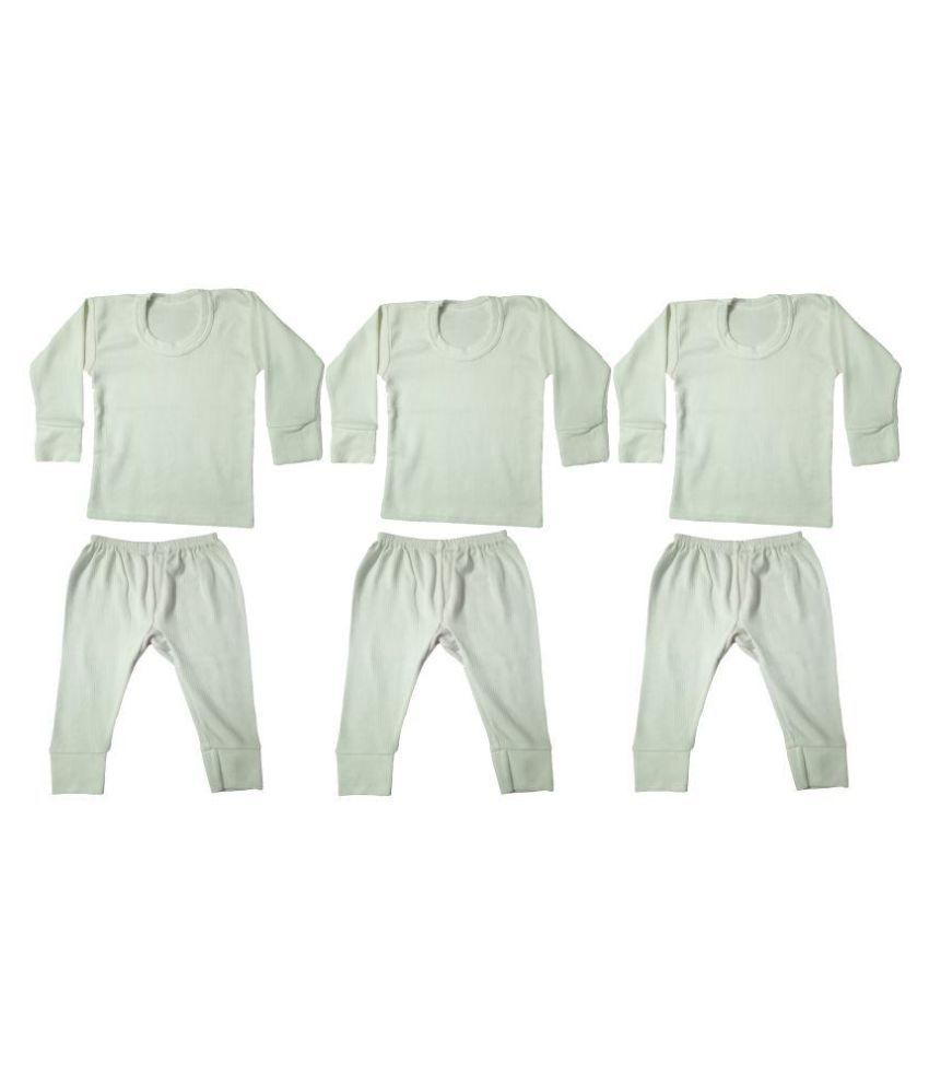 Diligence White Baby Cotton Thermals- Pack of 3