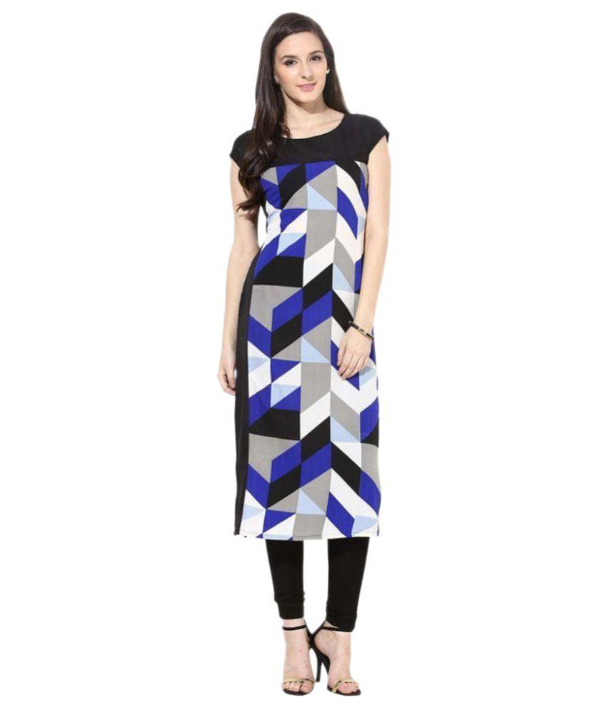 Urbane Woman Multicoloured Crepe Straight Kurti