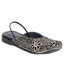 Panahi Black Flat Ethnic Footwear