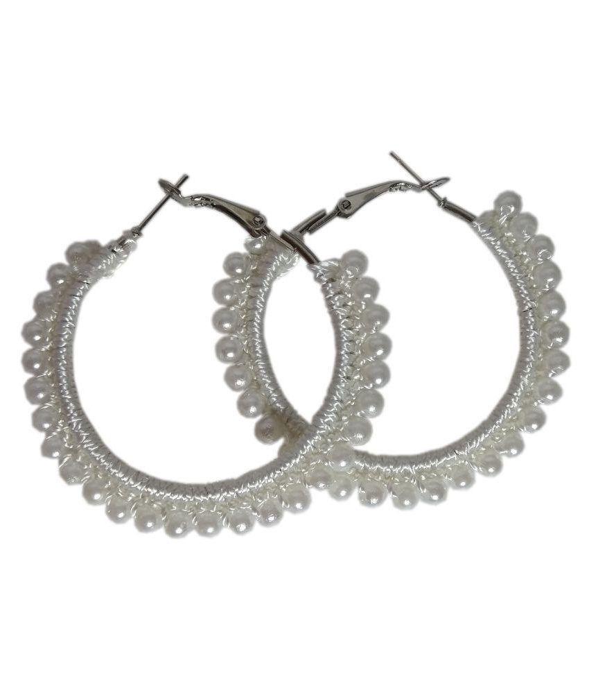 Threads N Ribbons White Hoop Earrings