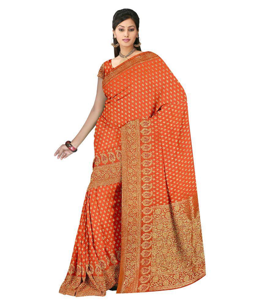 Ashk Sarees Orange Bhagalpuri Silk Saree