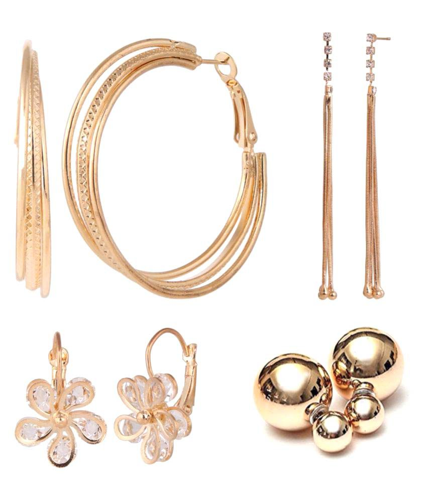 Archi Collection Combo of 4 Trendy Earrings for Girls and Women