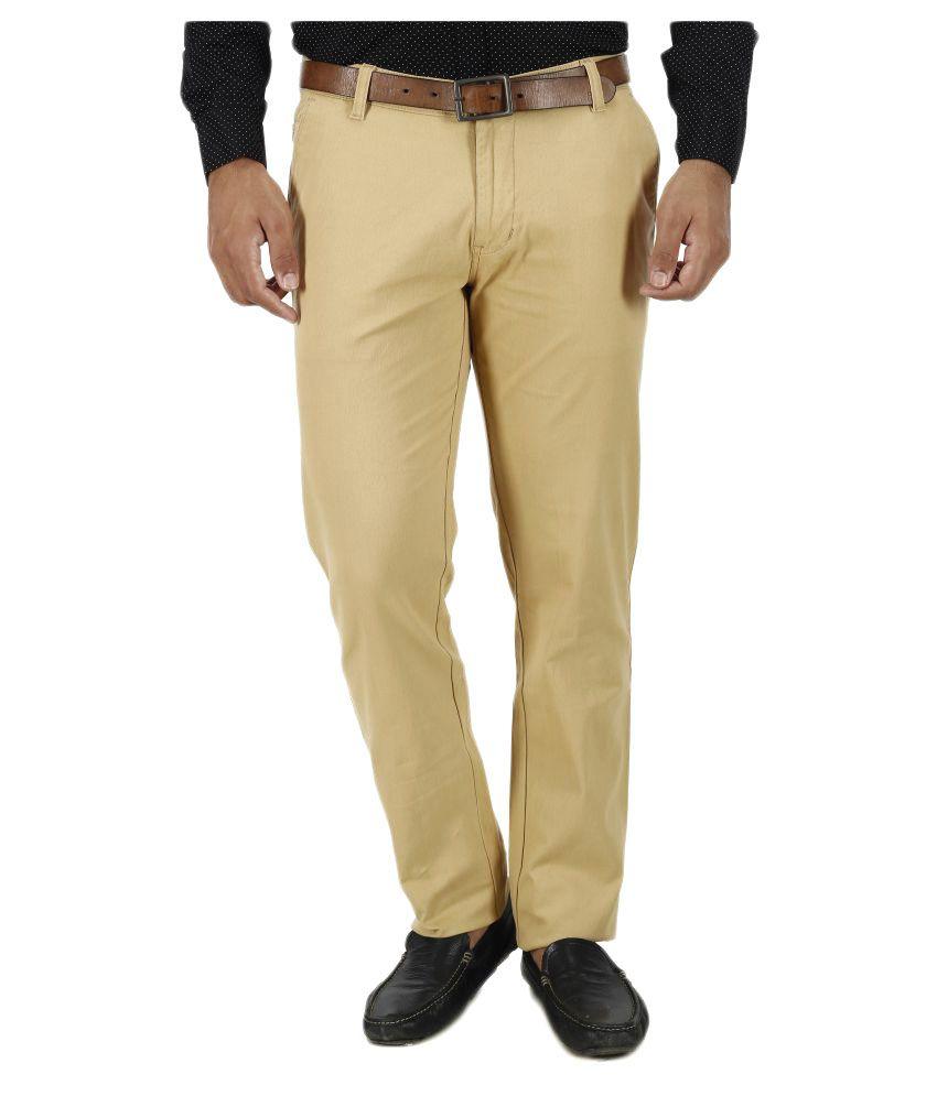 Savon Khaki Slim Flat Trousers