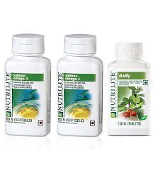 Amway SALMON OMEGA 2 NUTRILITE DAILY 120 COMBO 700 Mg Vitamins Capsule Pack Of 3