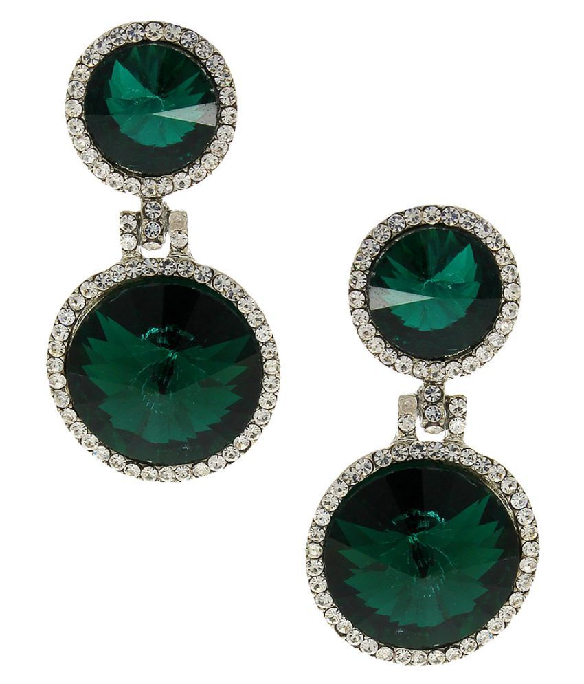 Anuradha Art Green Colour Classy Designer Styled with Sparkling Stone Party Wear Fancy Long Drop Earrings for Women/Girls