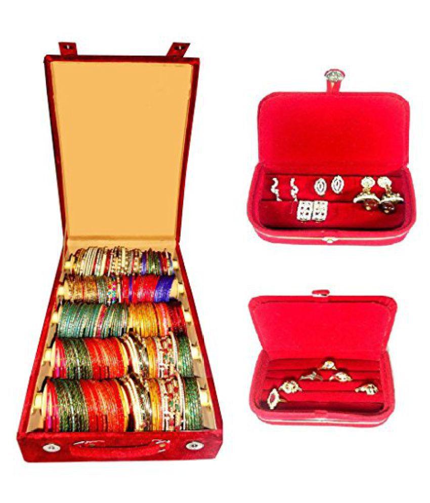 Atorakushon Combo deal 5 roll rod bangles box 1 earring box ring 1 ring box jewelry case