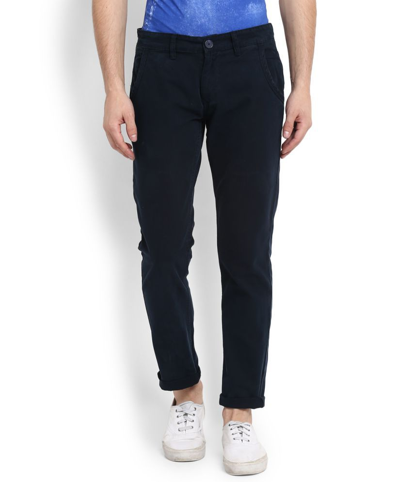 People Navy Blue Slim Flat Trousers