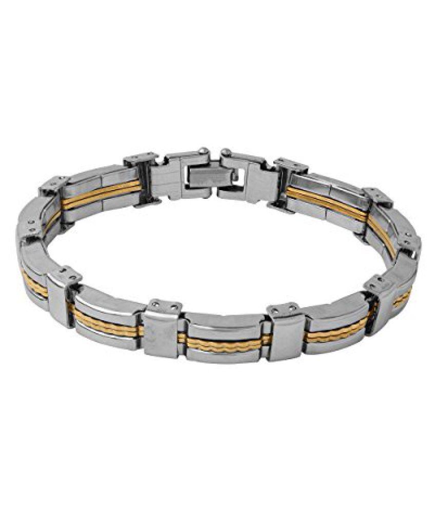 Voylla Designer Dual Tone Bracelet For Men