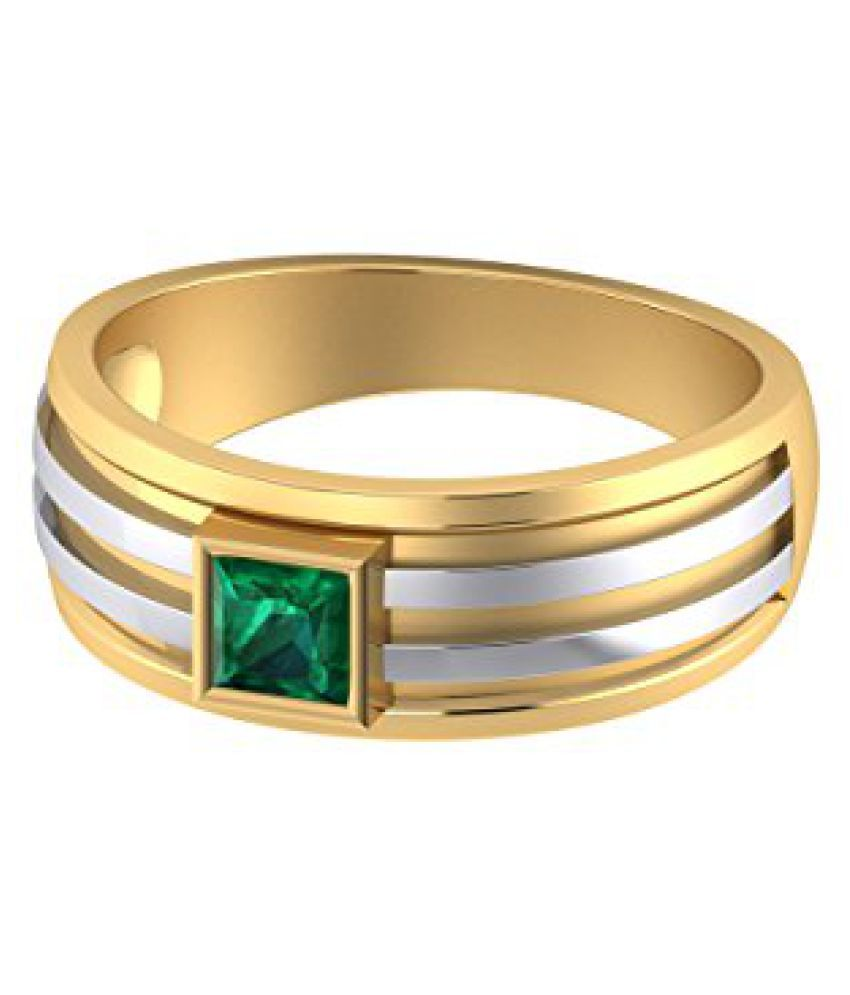 Voylla Gold Plated Green Emerald Decked Ring Made From Sterling Silver