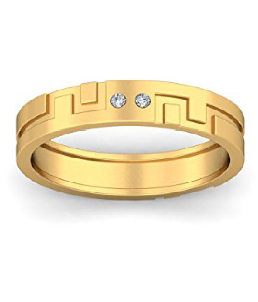 Voylla Gold Plated Ring With Diamond Embellishments, Size 14.0