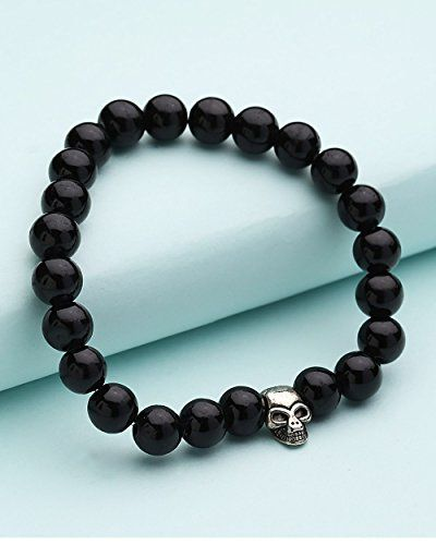 Voylla Gothic-Style Black Bead and Antique Silver Men?s Bracelet