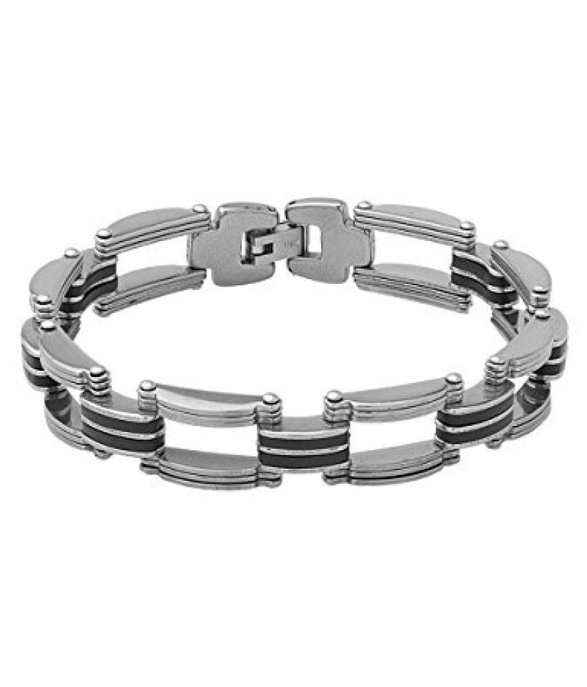 Voylla Macho Look Black And Steel Bracelet