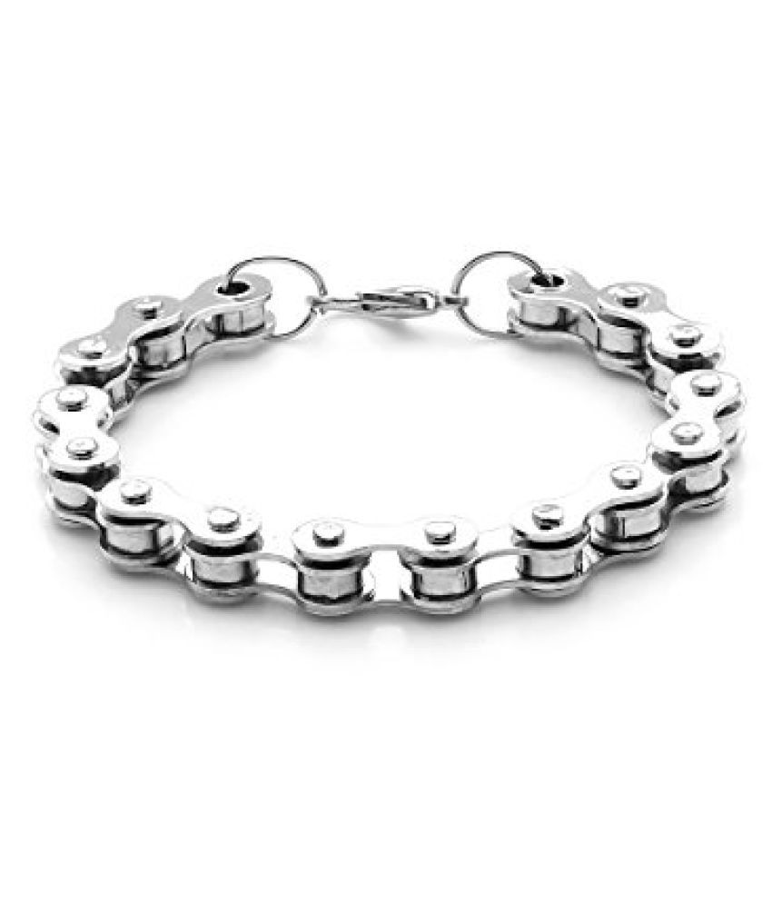 Voylla Silver Tone Inter Link Bracelet For Men With Claw Clasp Lock